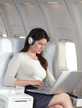 bluetooth headphones on a plane